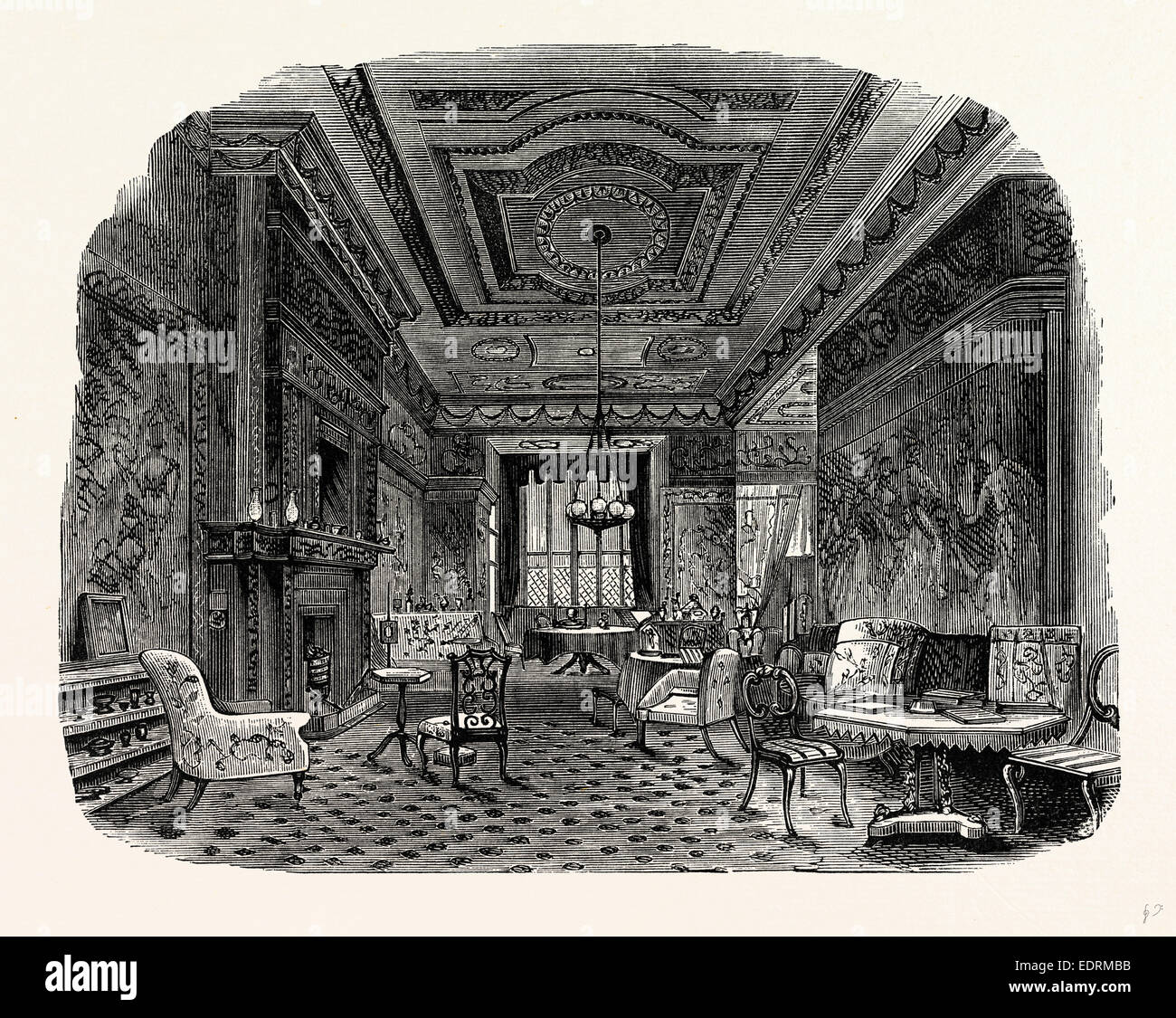The Saloon, Westwood Park, UK, England, engraving 1870s, Britain - Stock Image