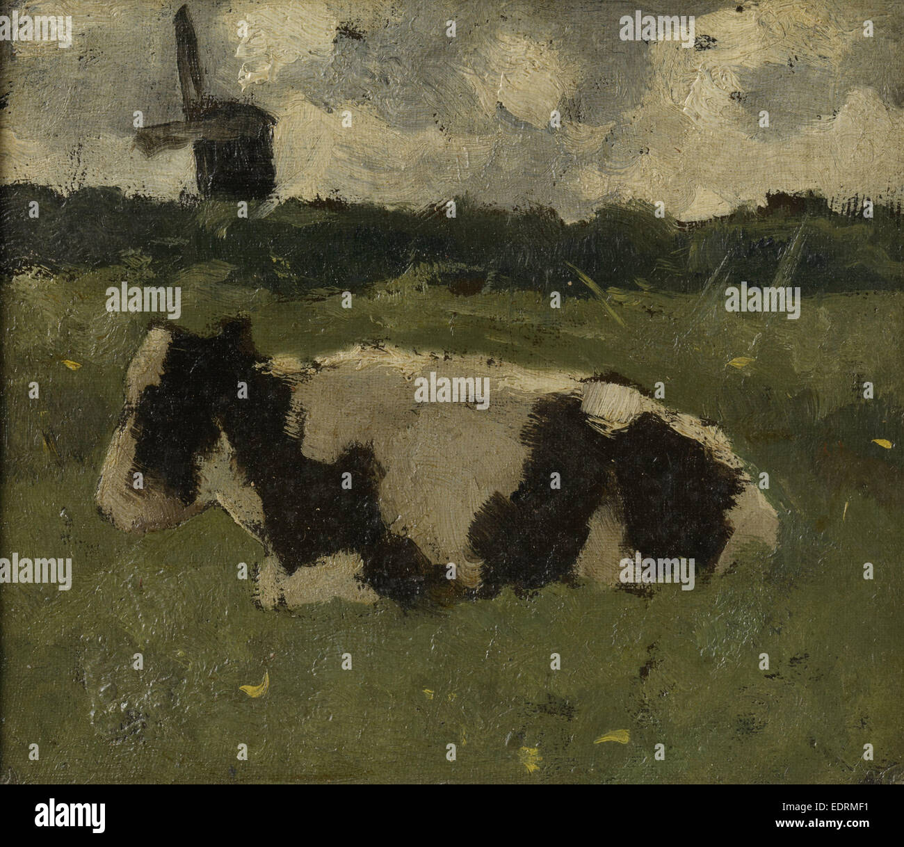 Lying cow with mill, Richard Roland Holst, 1888 - Stock Image