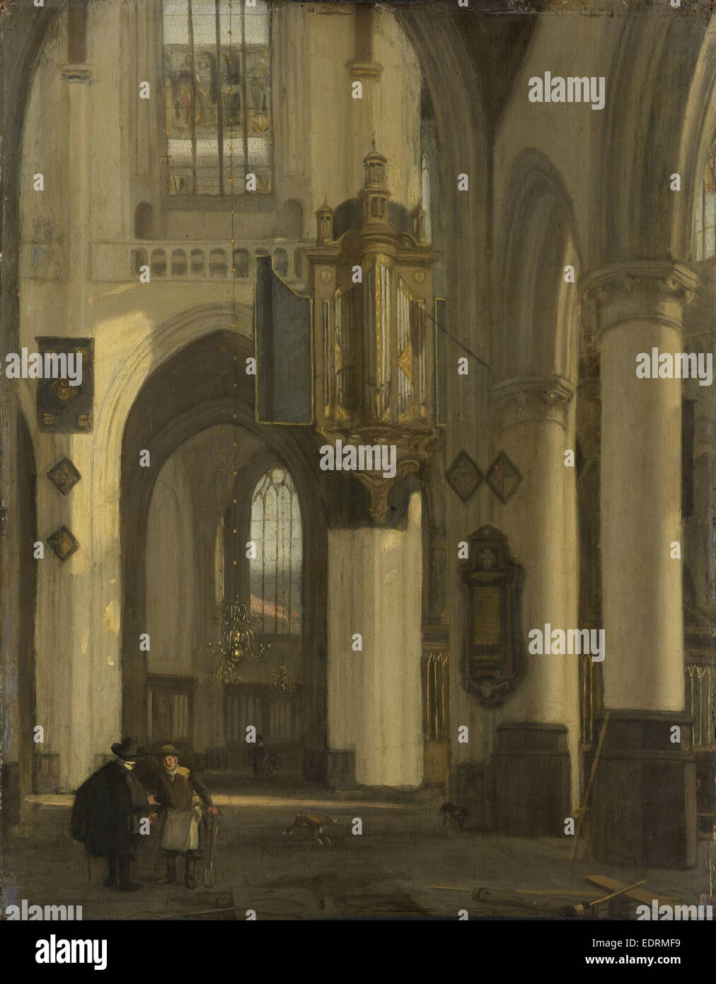 Interior of a Protestant Gothic Church with Motifs from the Old and New Church in Amsterdam The Netherlands, Emanuel - Stock Image