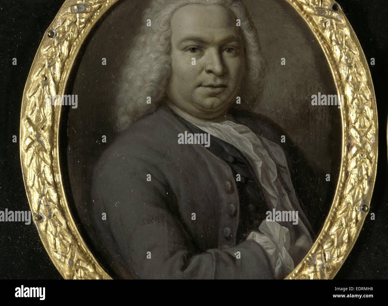 Portrait of Theodoor van Snakenburg, Jurist and Poet in Leiden, Hieronymus van der Mij, 1743 - Stock Image