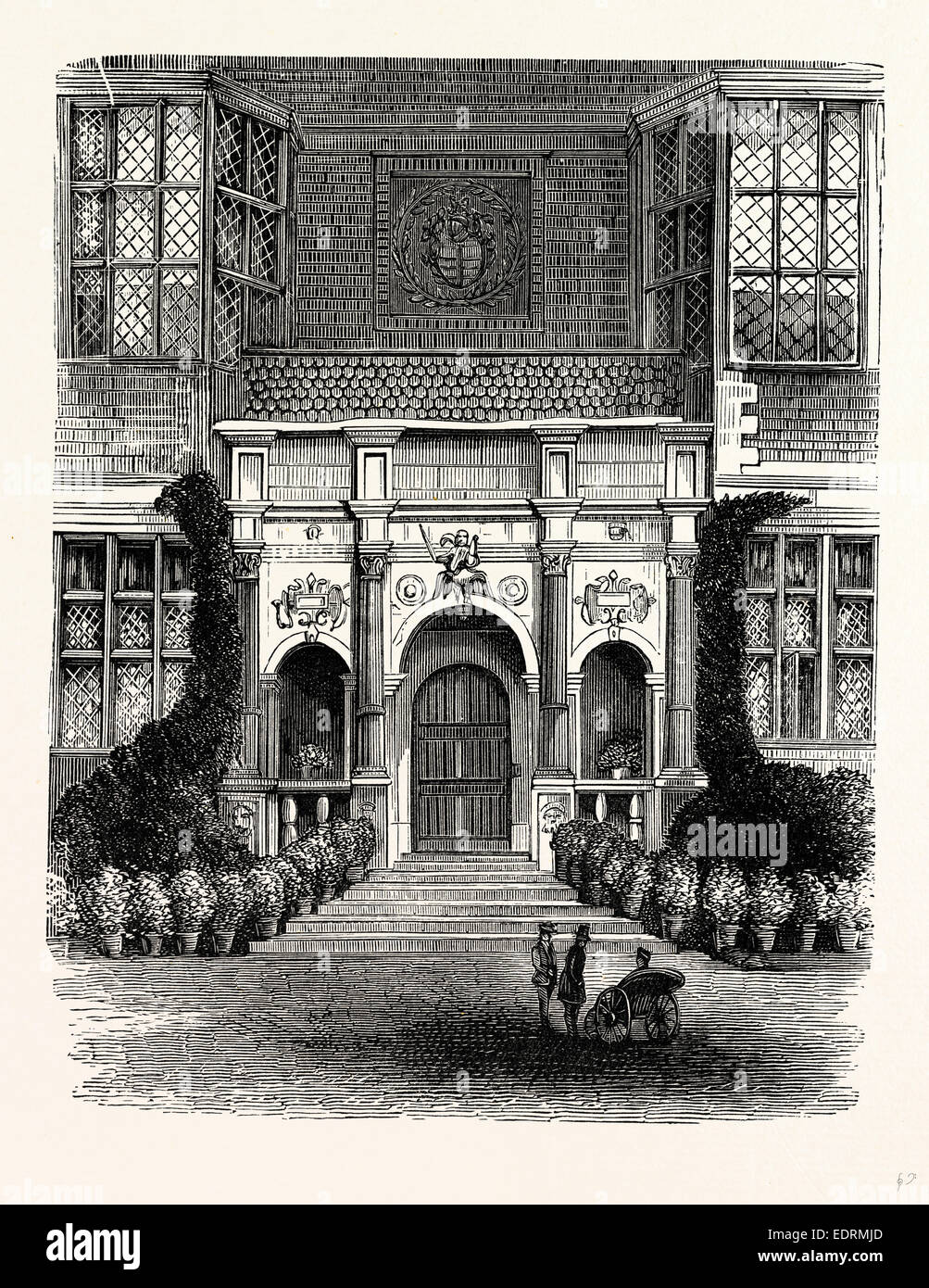 The Entrance Porch, Westwood Park, UK, England, engraving 1870s, Britain - Stock Image