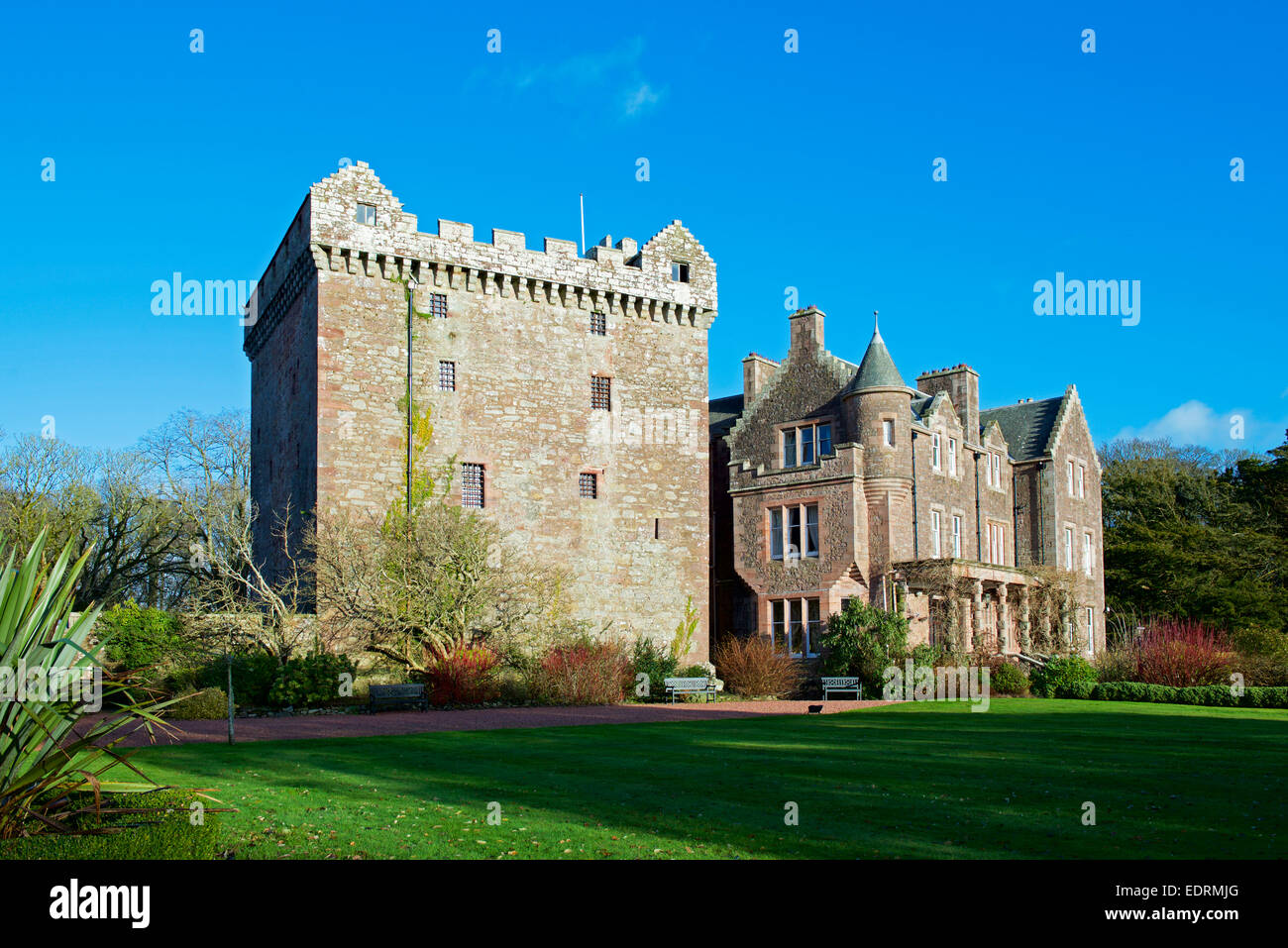 Comlongon Castle Hotel and Wedding Venue, Clarencefield, Dumfries & Galloway, Scotland UK, - Stock Image