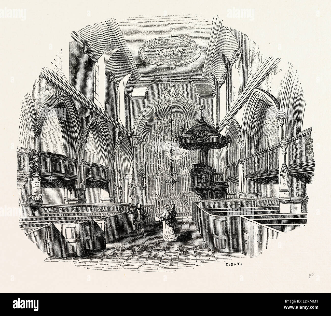 Chancel St. Giles, Cripplegate, London, England, engraving 19th century, Britain, UK - Stock Image