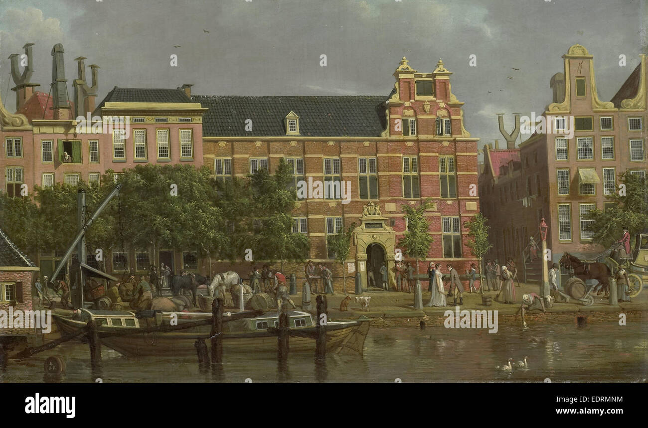 The Latin school on the Singel, Amsterdam, Jacob Smies, 1802 - Stock Image