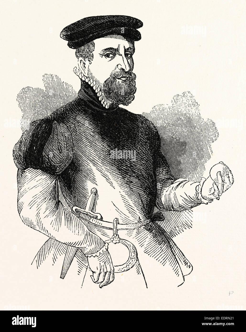Portrait Sir Thomas Gresham, English merchant and financier, London, England, engraving 19th century, Britain, UK - Stock Image