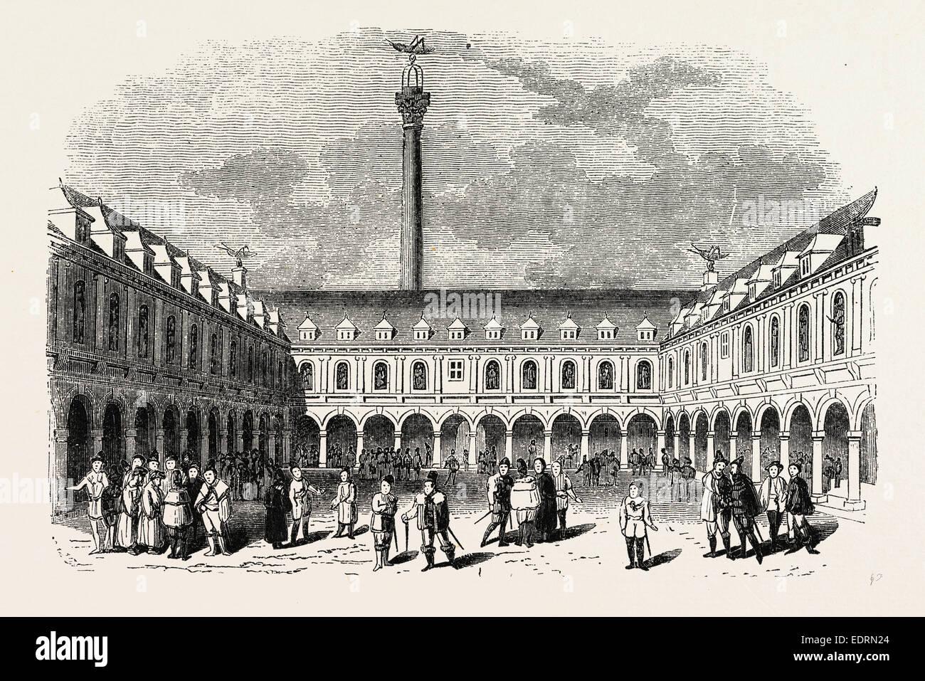 Sir Thomas Gresham's Exchange, London, England, engraving 19th century, Britain, UK - Stock Image