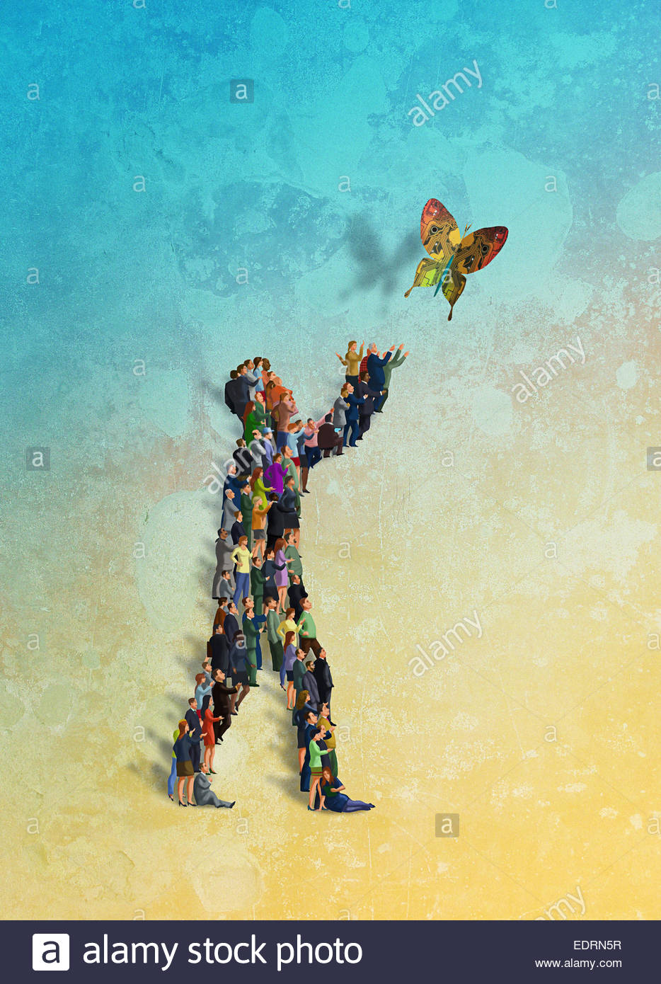 Lots of people working together to form man releasing circuit board butterfly - Stock Image