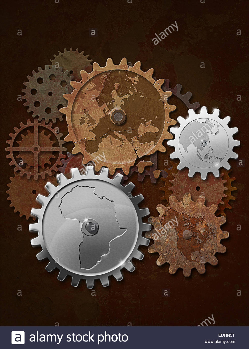 Contrasting shiny new Africa and Asia cogs connected to old rusty North America and Europe - Stock Image