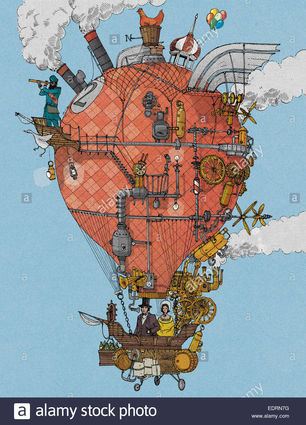 Old-fashioned explorers in homemade hot air balloon - Stock Image