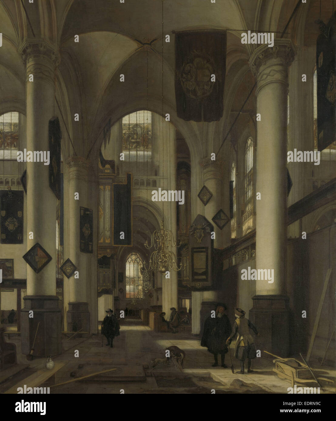 Interior of a Protestant Gothic Church with Motifs from the Oude and Nieuwe Kerk in Amsterdam, The Netherlands, - Stock Image