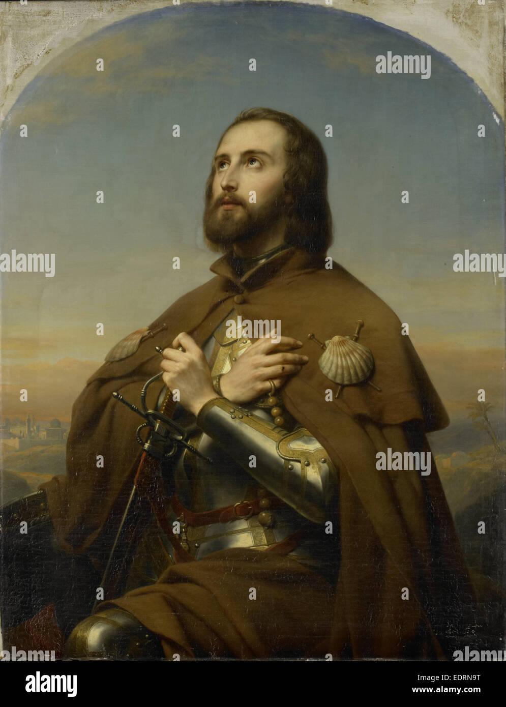 Eberhard, 1445-96, Duke of Württemberg as a pilgrim, the Holy Land, Nicaise De Keyser, 1846 - Stock Image