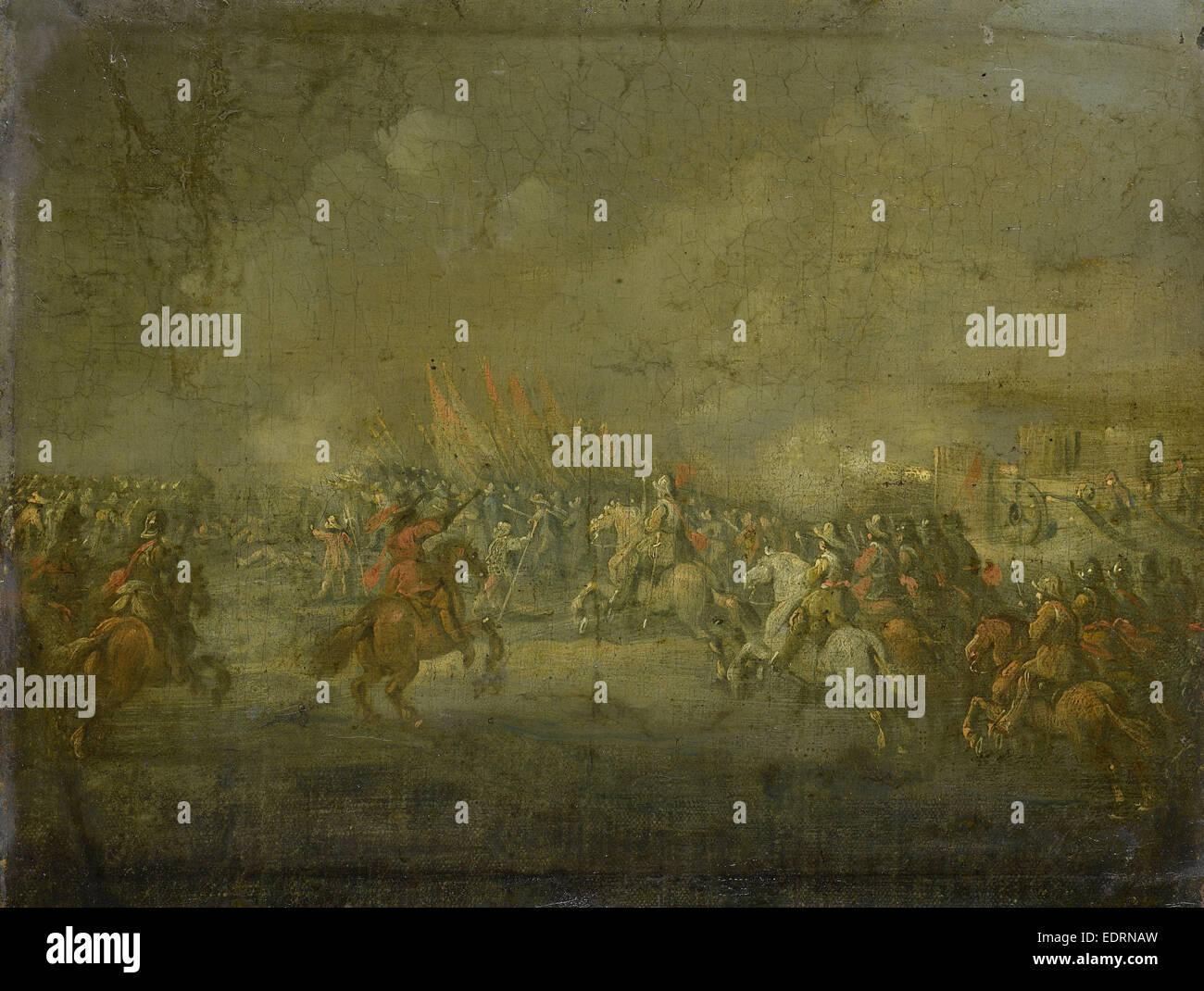 A Cavalry Skirmish, Anonymous, c. 1645 - Stock Image