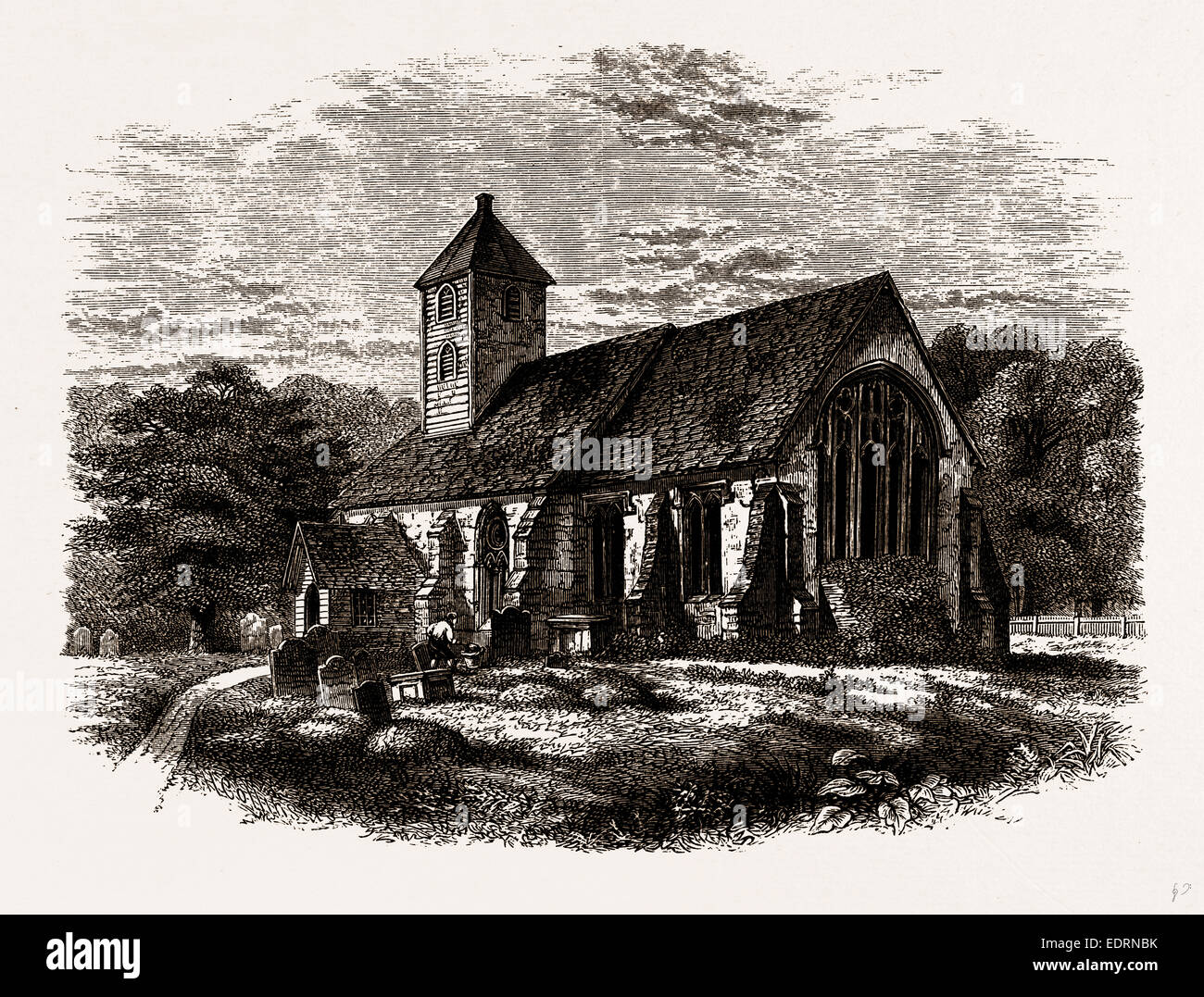OLD HANWORTH CHURCH, a Print published 1795 - Stock Image