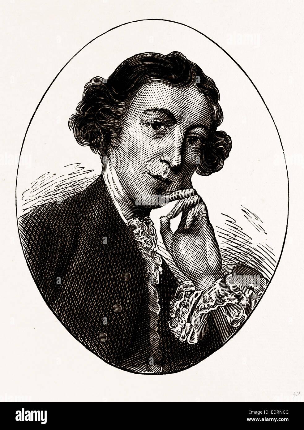 HORACE WALPOLE, UK, engraving 1881 - 1884 - Stock Image