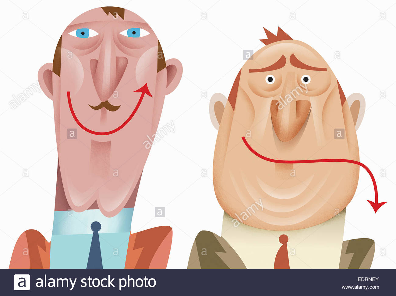 Contrasting up and down arrow mouths of happy and sad businessmen - Stock Image