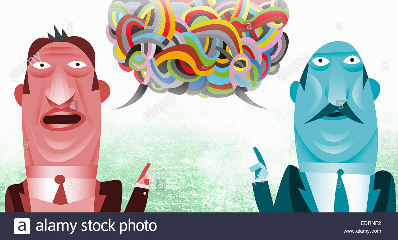 Businessmen with communications problems in tangled multicolored speech bubble - Stock Image