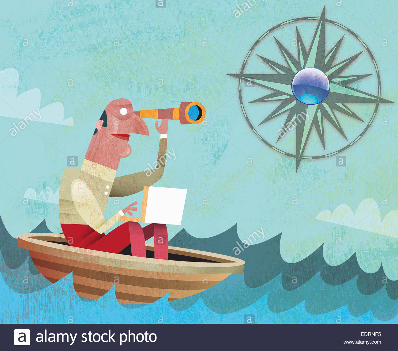 Man in boat looking through telescope towards compass sun - Stock Image