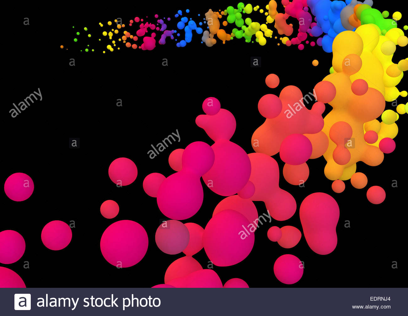 Abstract backgrounds pattern of multicolored neon flowing blobs - Stock Image