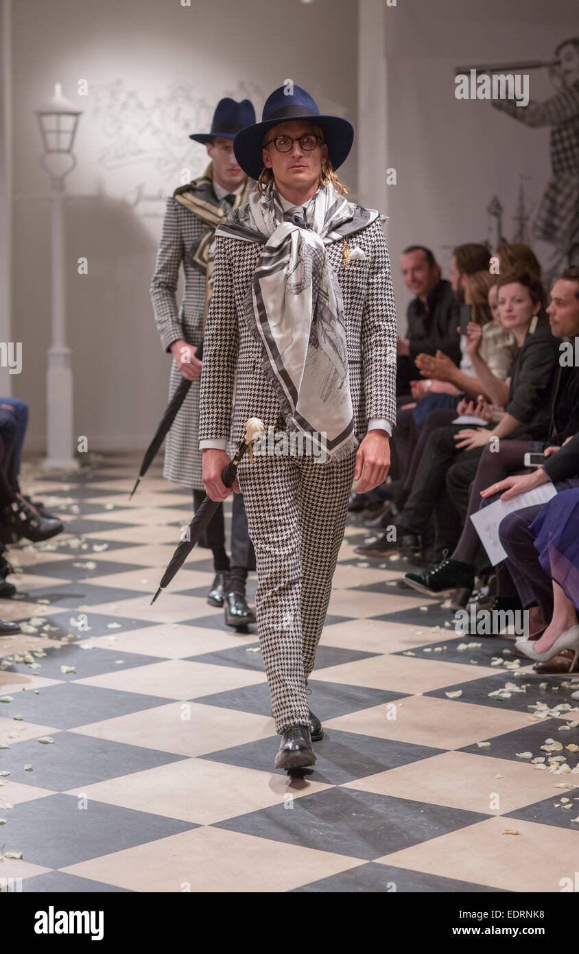 London, UK. 08th Jan, 2015. On January 8, Joshua Kane presented their AW/15 collection with 18 stylish looks tailored - Stock Image