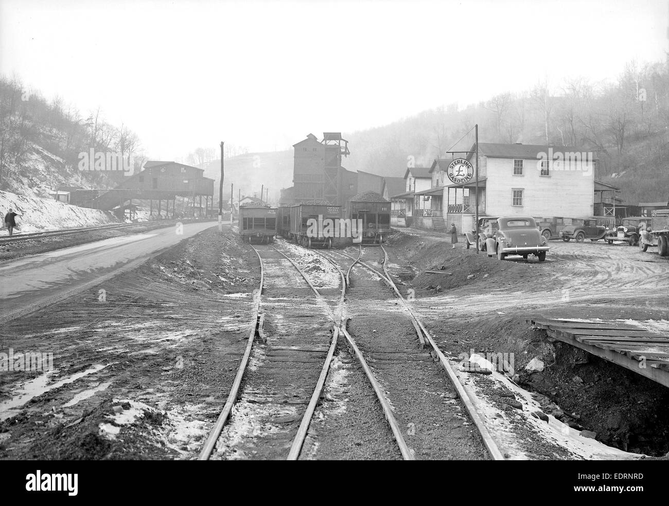 Scott's Run, West Virginia. Pursglove Nos. 3 and 4 - Another view of Pursglove Mines Nos. 3 and 4, March 1937, - Stock Image