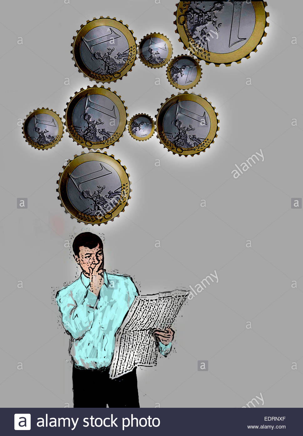 Euro coin cogs above man reading financial newspaper thinking about investments - Stock Image