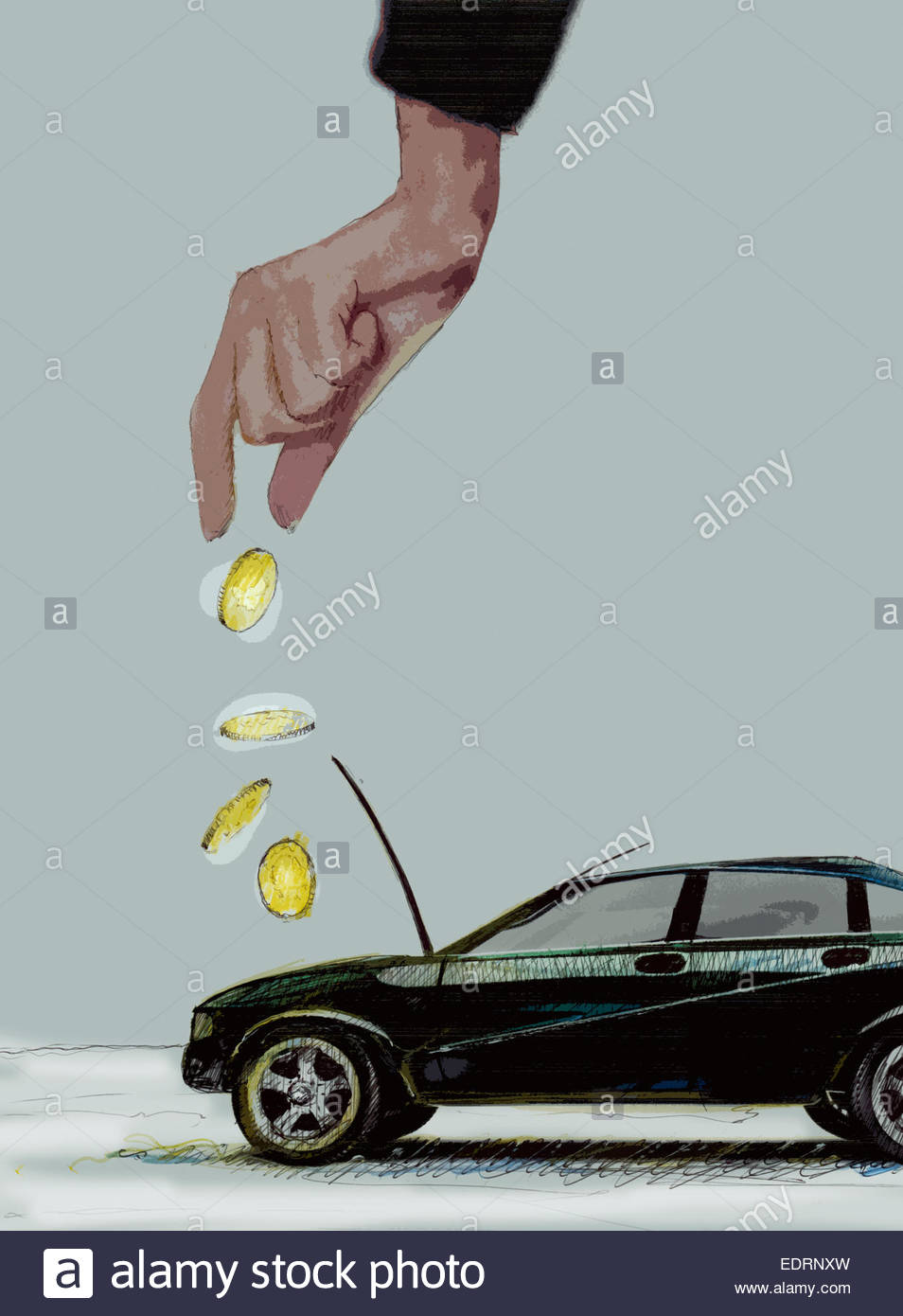 Hand dropping coins into car engine - Stock Image
