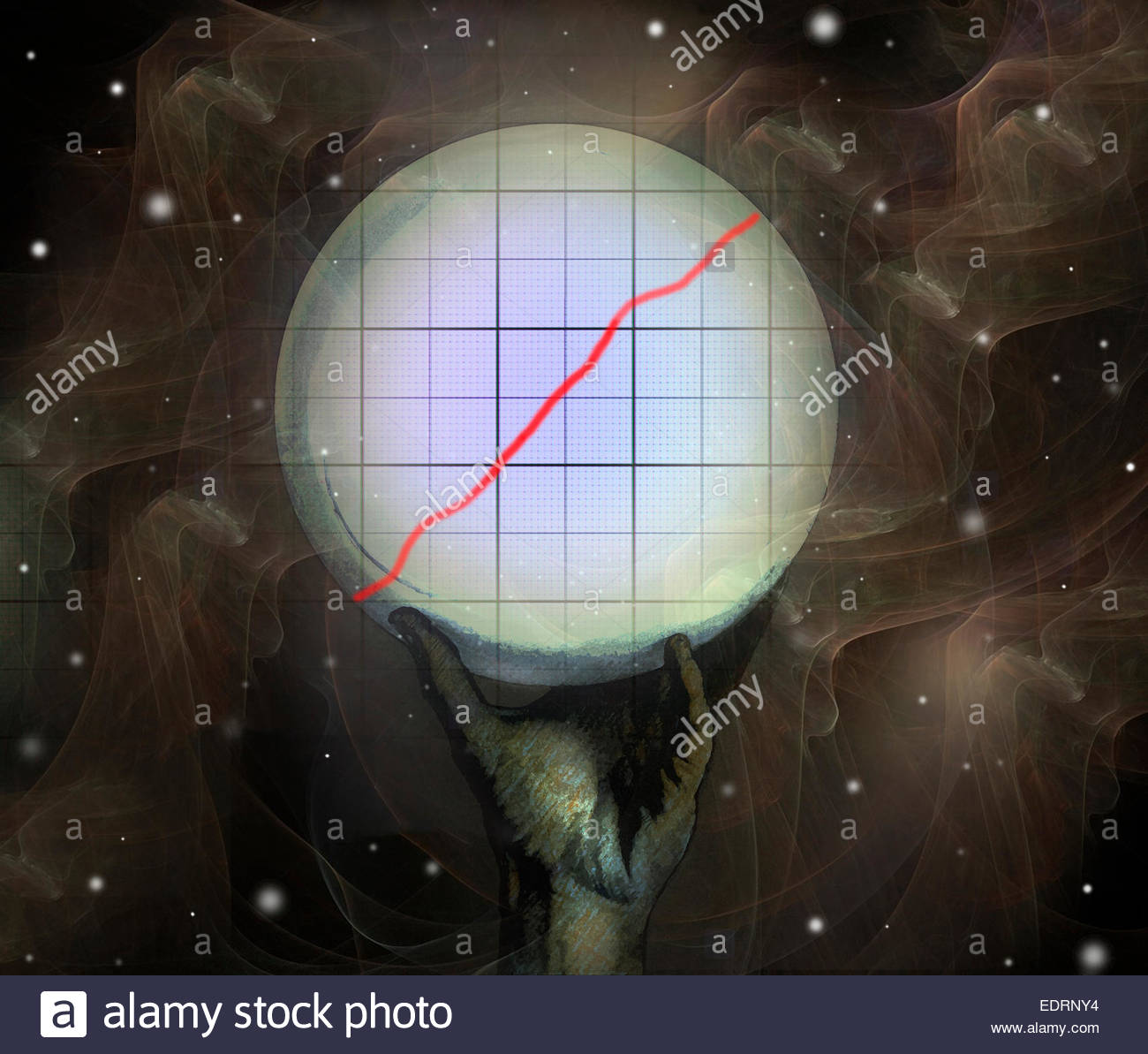 Crystal ball predicting growth in rising line graph - Stock Image