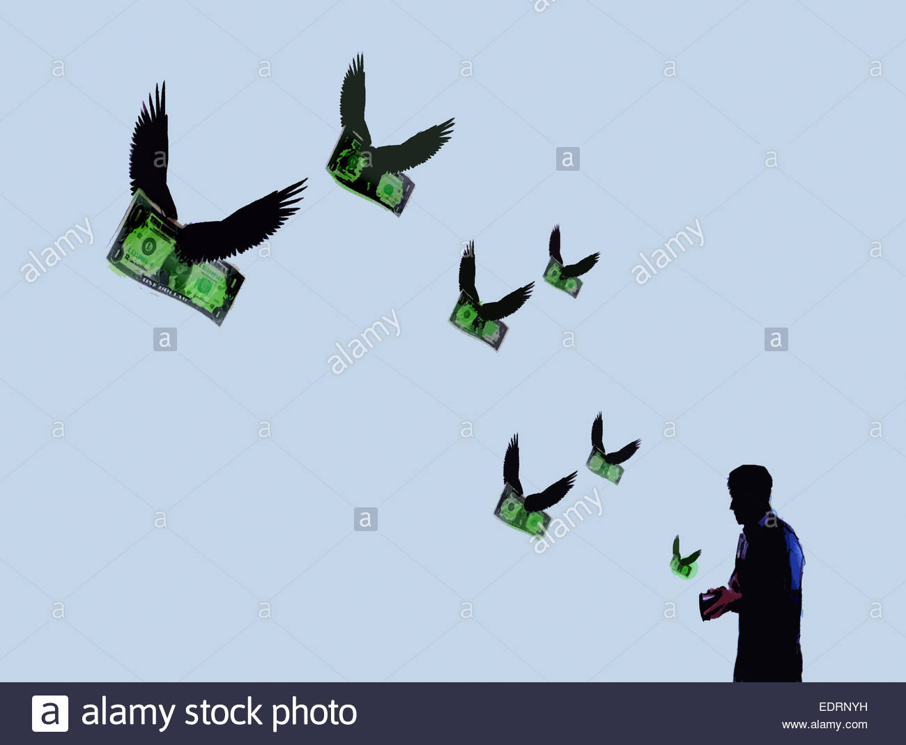 Money with wings flying out of man's wallet - Stock Image