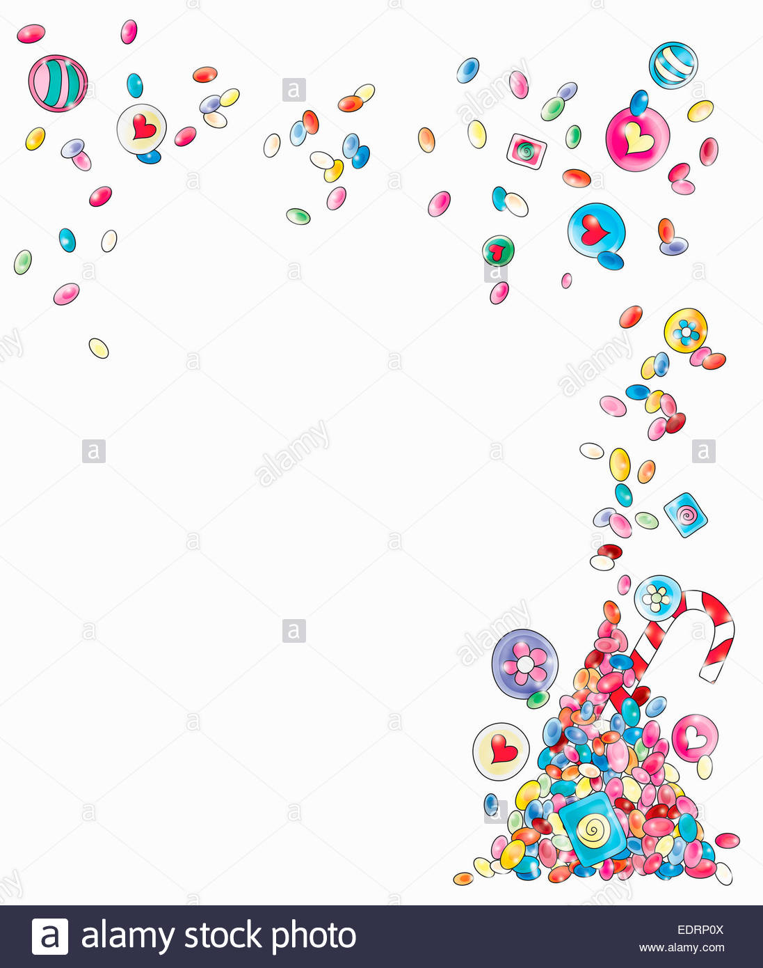 Blank invitation with border of candy sweets Stock Photo 77354170