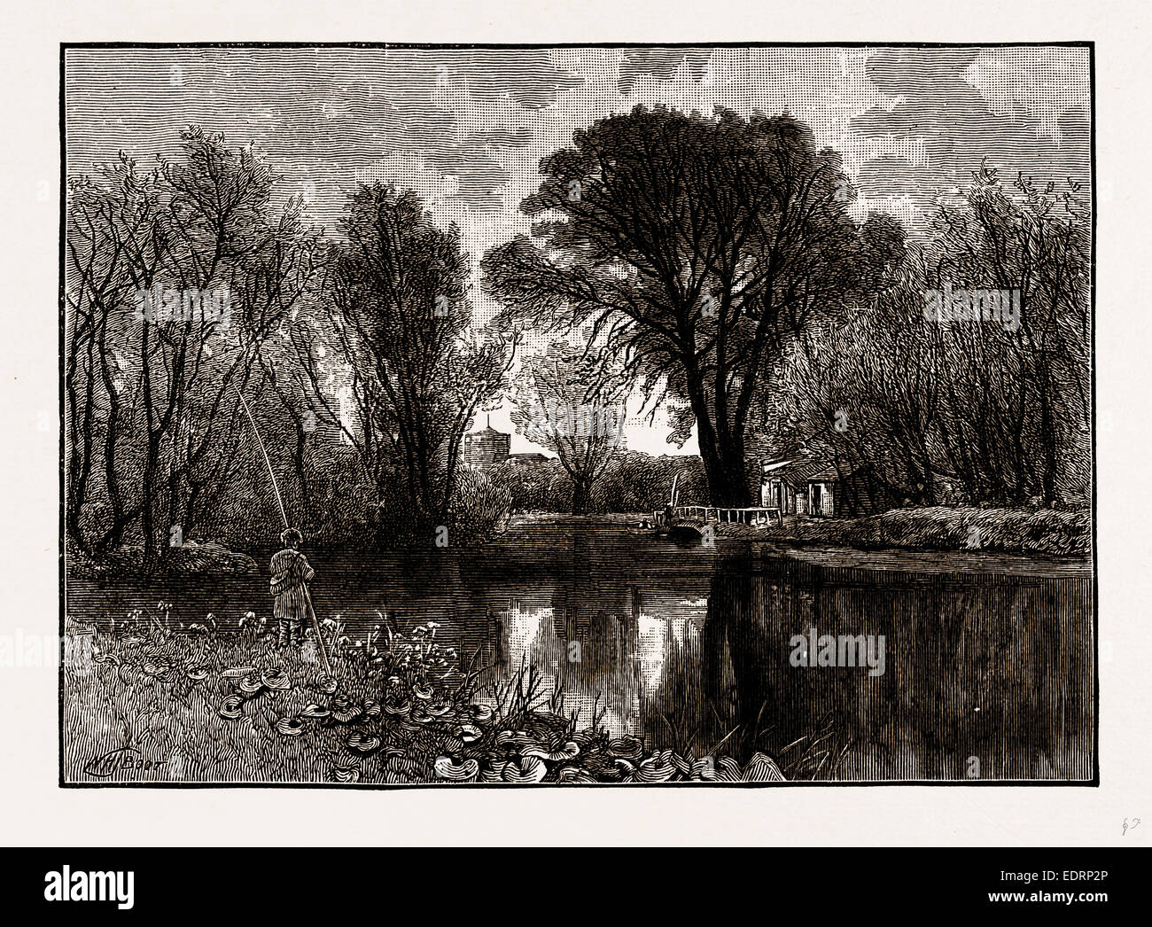 ON THE LEA, UK, engraving 1881 - 1884 - Stock Image