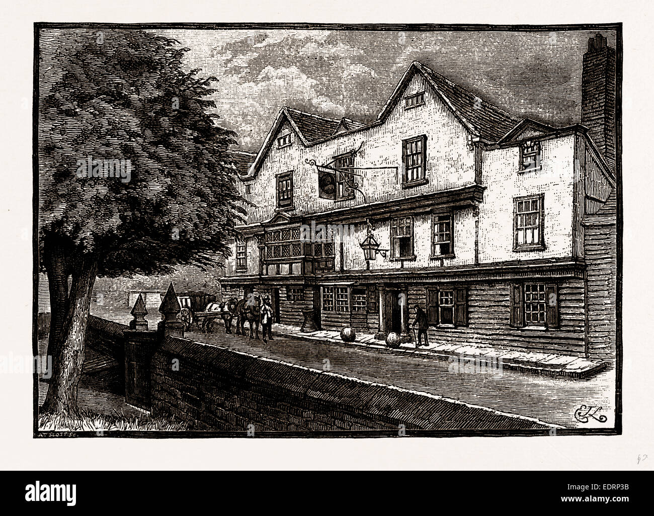 THE ' KING'S HEAD,' CHIGWELL, UK, engraving 1881 - 1884 - Stock Image