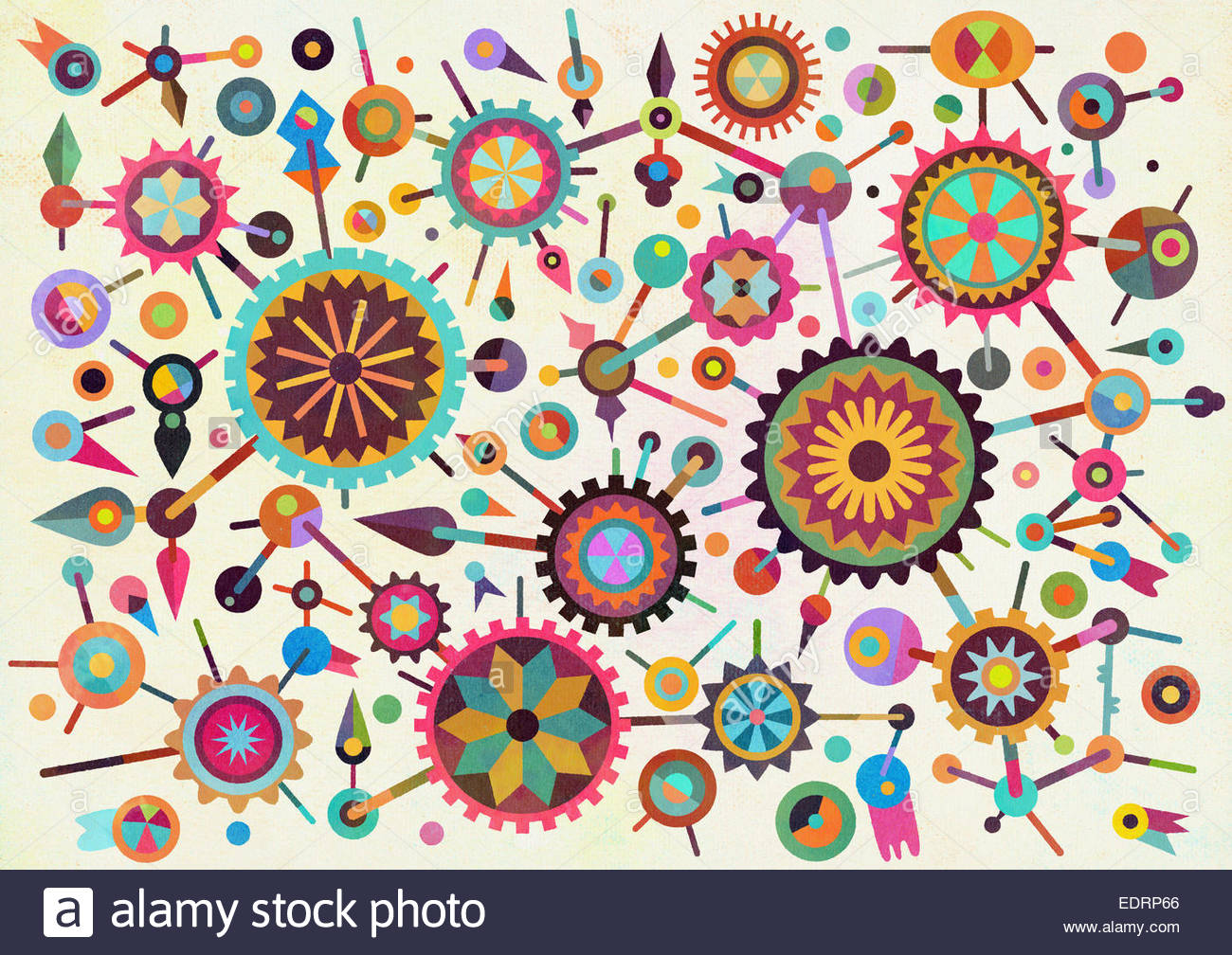 Abstract pattern of connected multicolored geometric shapes - Stock Image