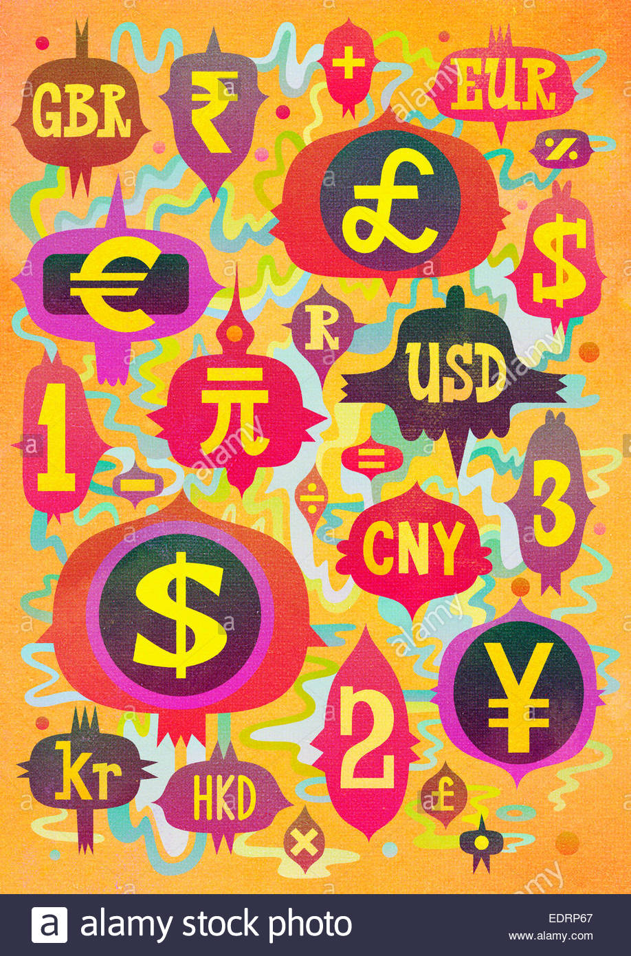Abstract pattern of global currency symbols and abbreviations - Stock Image