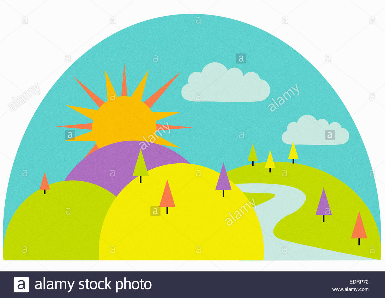 Winding path in rolling landscape on sunny day - Stock Image
