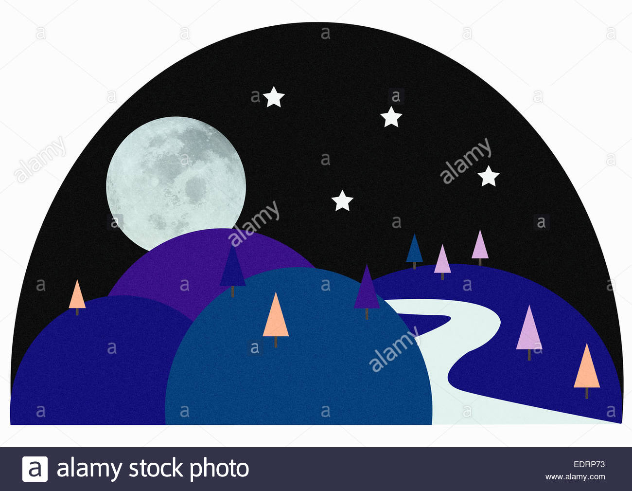 Winding path in rolling landscape at night with full moon - Stock Image