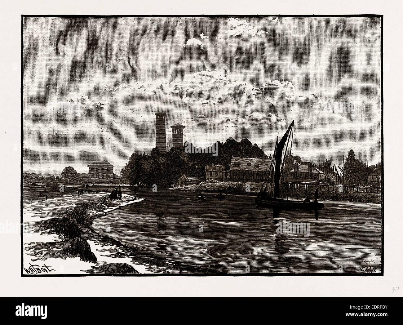 AT LEA BRIDGE, UK, engraving 1881 - 1884 - Stock Image