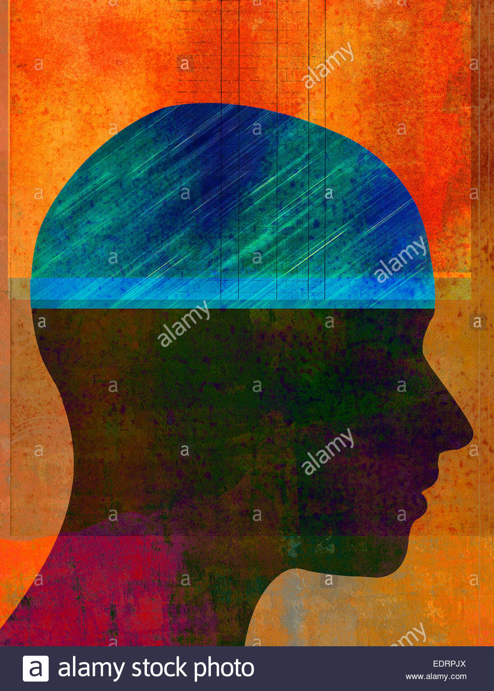 Ledger book in profile of man's head - Stock Image