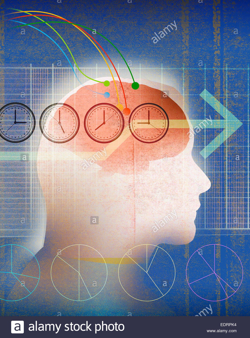Business planning with abstract brain connections to graphs and international time zone clocks - Stock Image