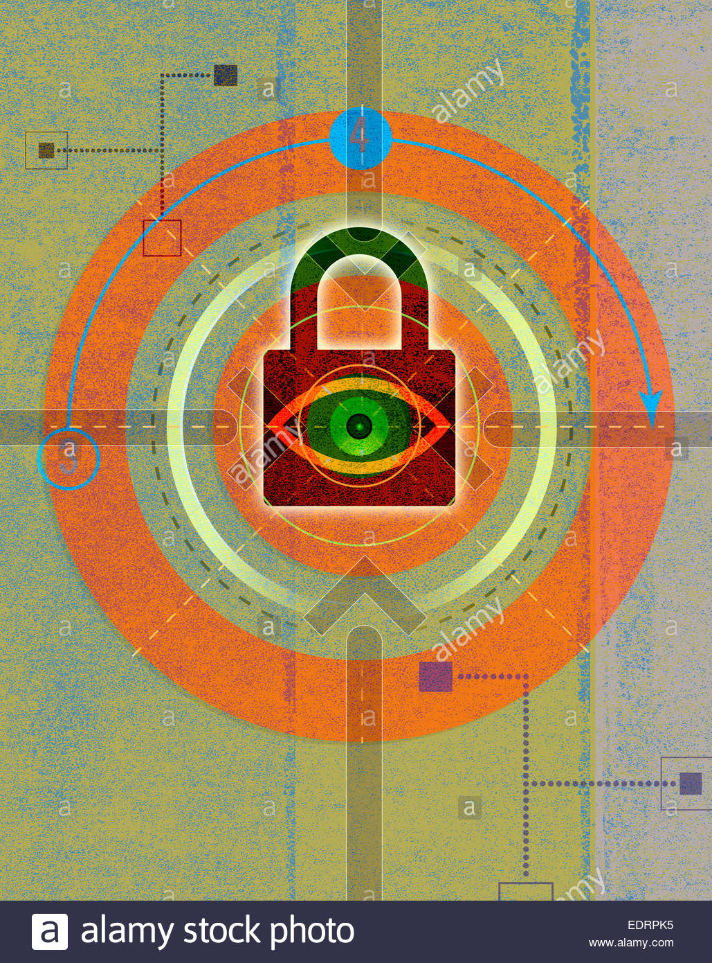 Eye looking through padlock in abstract network pattern - Stock Image