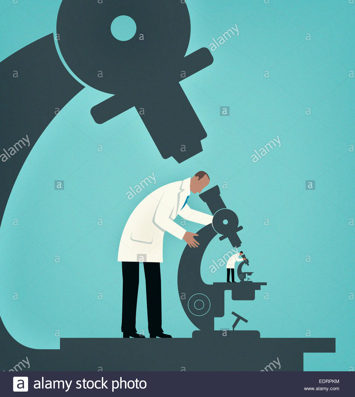 Hierarchy of large scientist studying small scientist looking through microscope - Stock Image