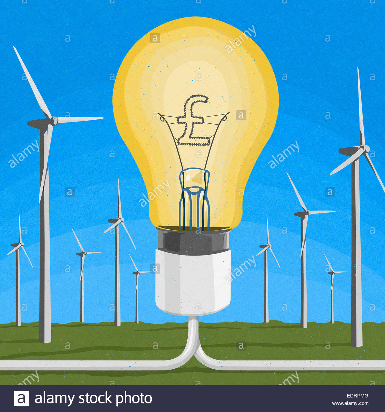 British pound sign inside of light bulb connected to wind farm - Stock Image