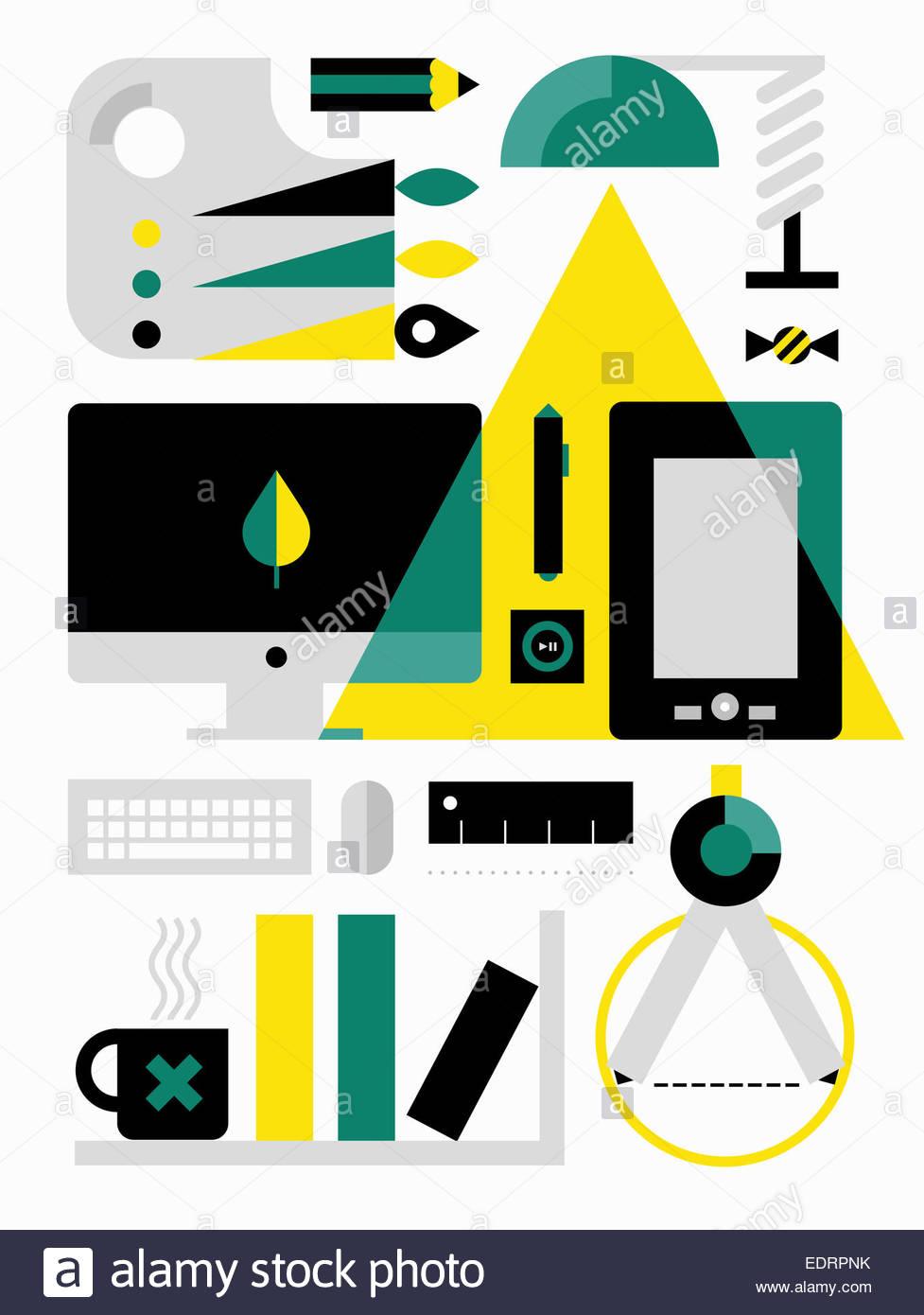 Desktop equipment for digital artist - Stock Image