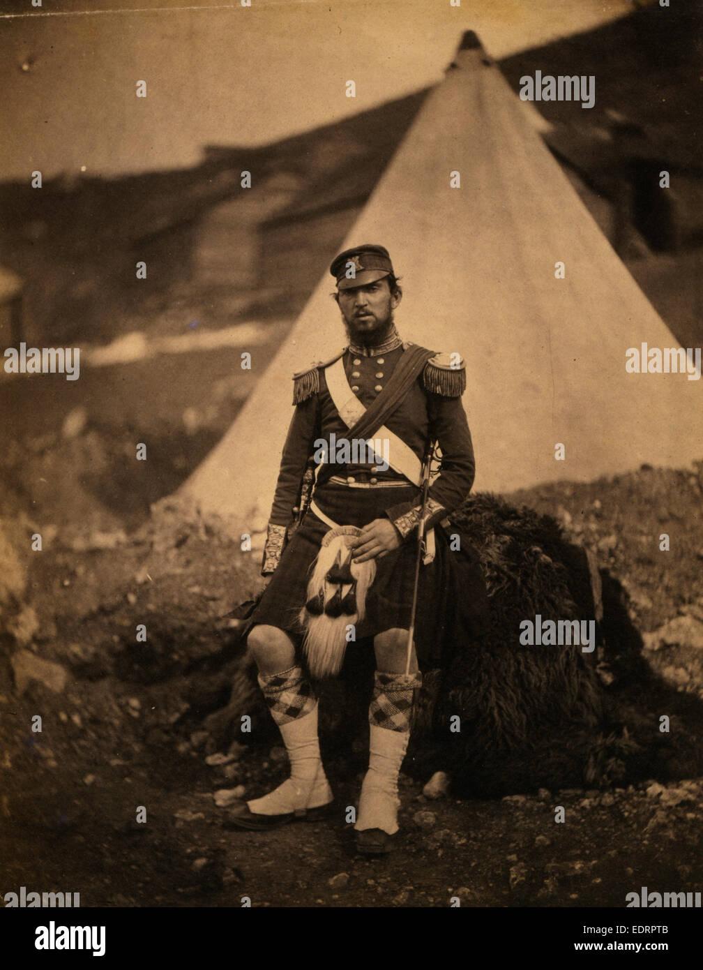 Captain Cuninghame, 42nd Regiment, Crimean War, 1853-1856, Roger Fenton historic war campaign photo - Stock Image