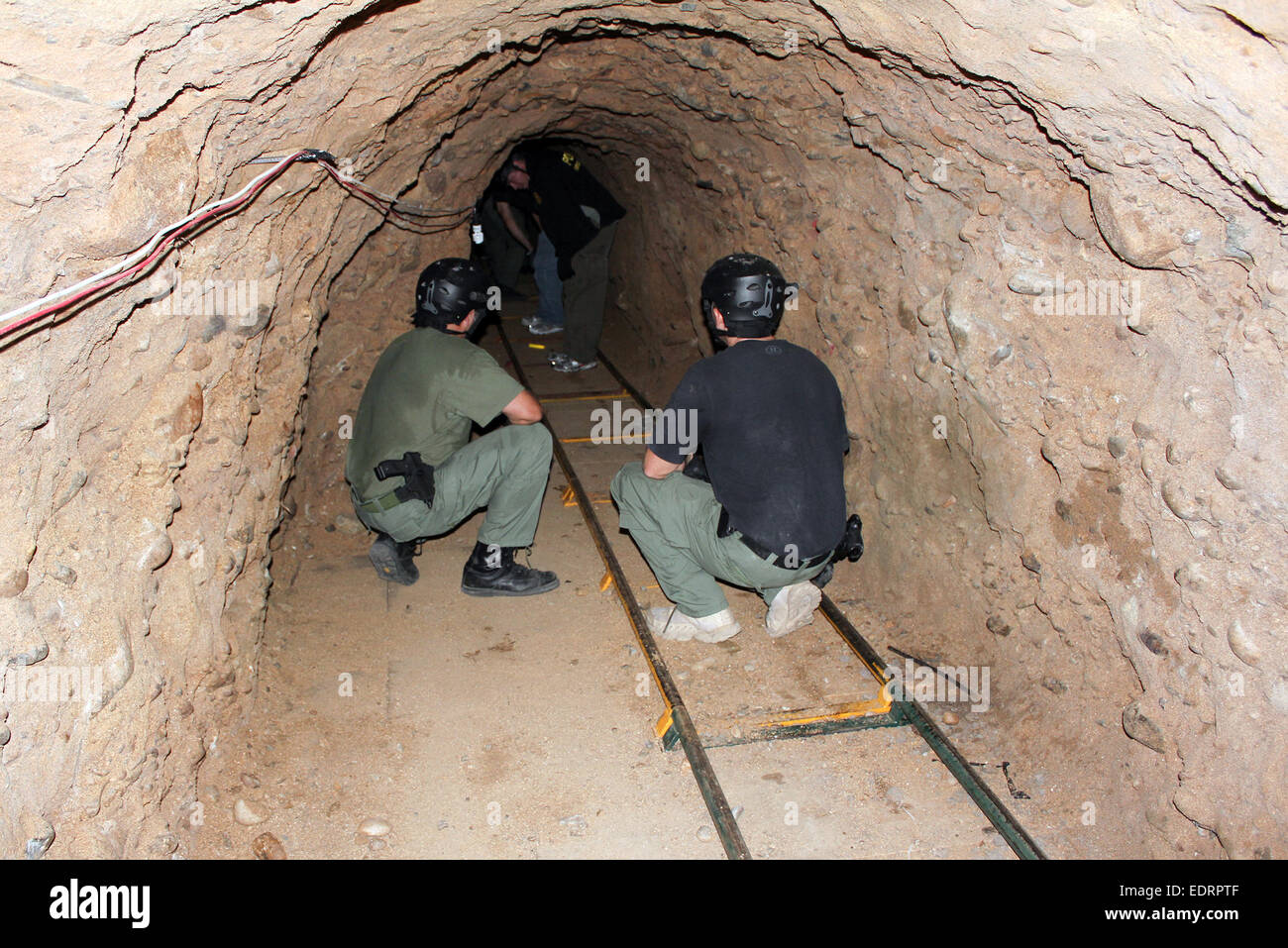 San Diego Tunnel Task Force explorer a sophisticated 560 meter long tunnel used for drug smuggling along the U.S. - Stock Image