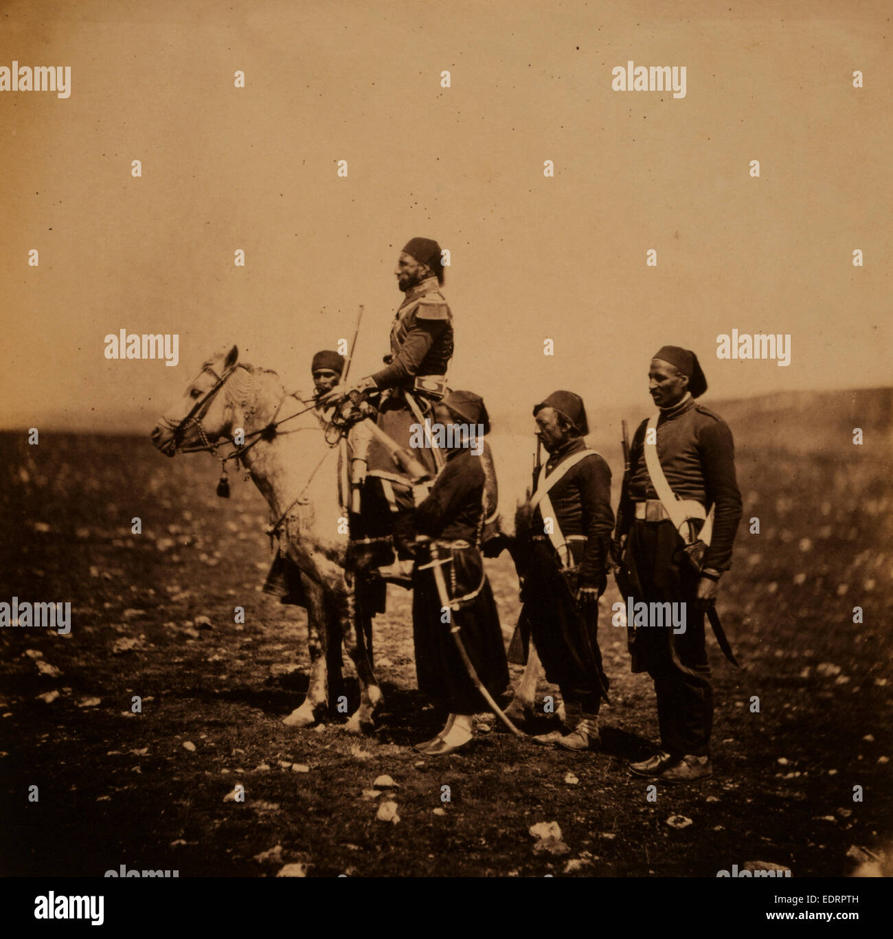 Ismail Pacha on horseback, with Turkish officers, Crimean War, 1853-1856, Roger Fenton historic war campaign photo - Stock Image