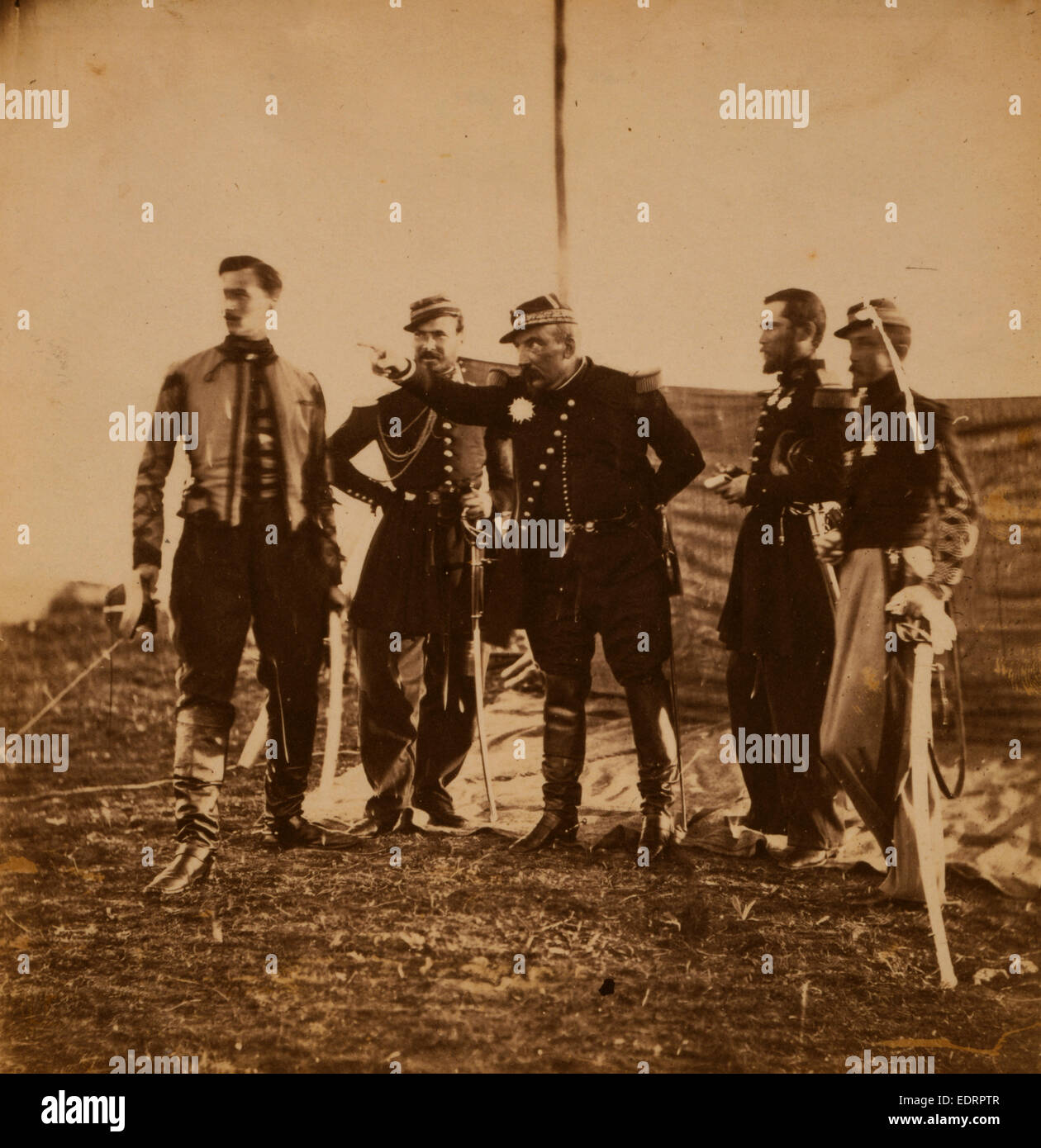 General Bosquet giving orders to his staff, Crimean War, 1853-1856, Roger Fenton historic war campaign photo - Stock Image