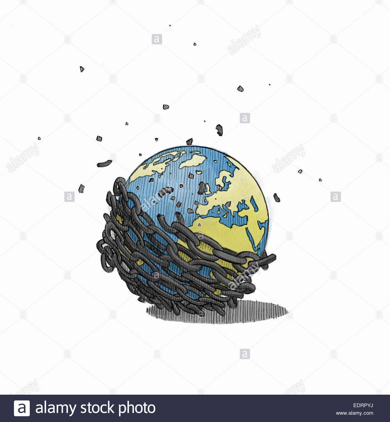 Globe breaking free from chains Stock Photo: 77354918 - Alamy