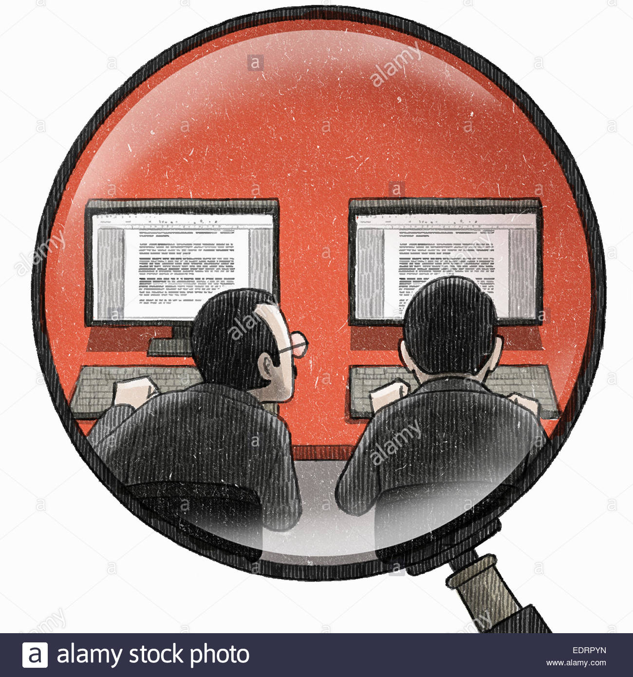 Magnifying glass examining businessman copying colleagues work on computer - Stock Image