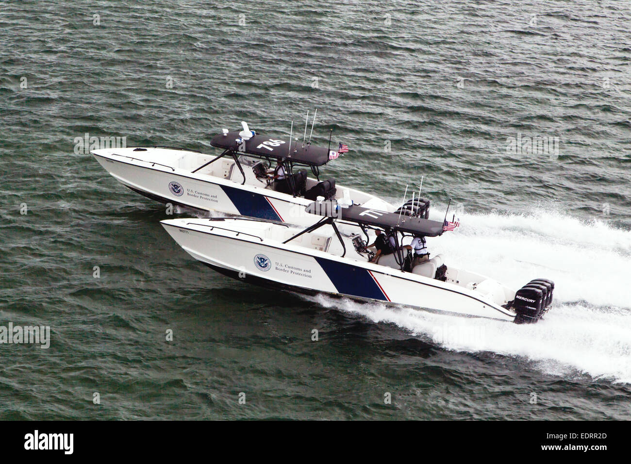 "US Customs and Border Protection Marine unit operating a 1200HP 39' Midnight Express Boat, as of 2014 ""the most - Stock Image"