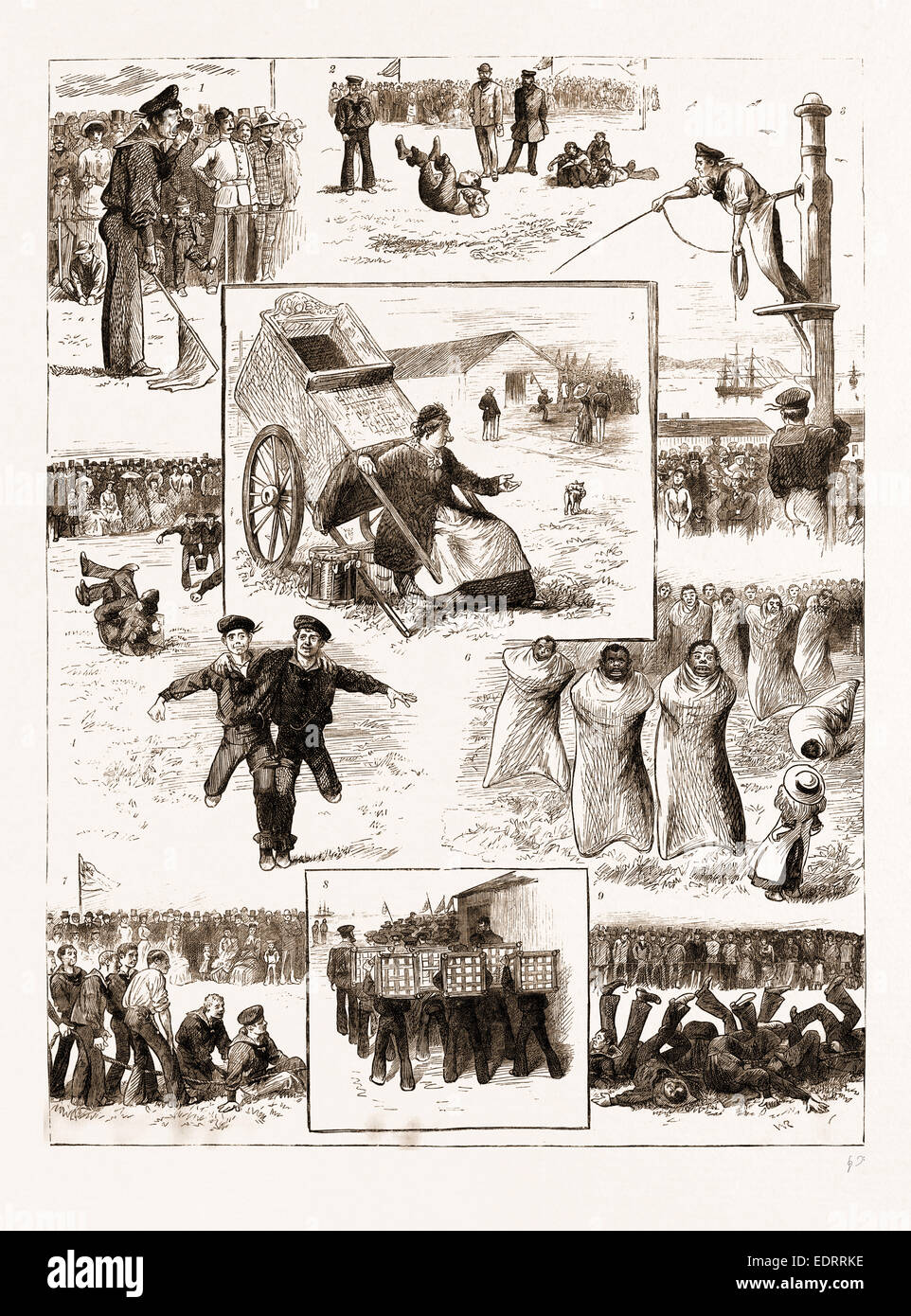 ATHLETIC SPORTS BY BOYS OF A TRAINING SHIP, 1883: 1. 'Hall 'Ands for Three-Legged Race, Fall In.' - Stock Image